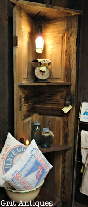 Corner Door Cabinet & Corner Shelf made with an Old Wooden Door - Grit Antiques