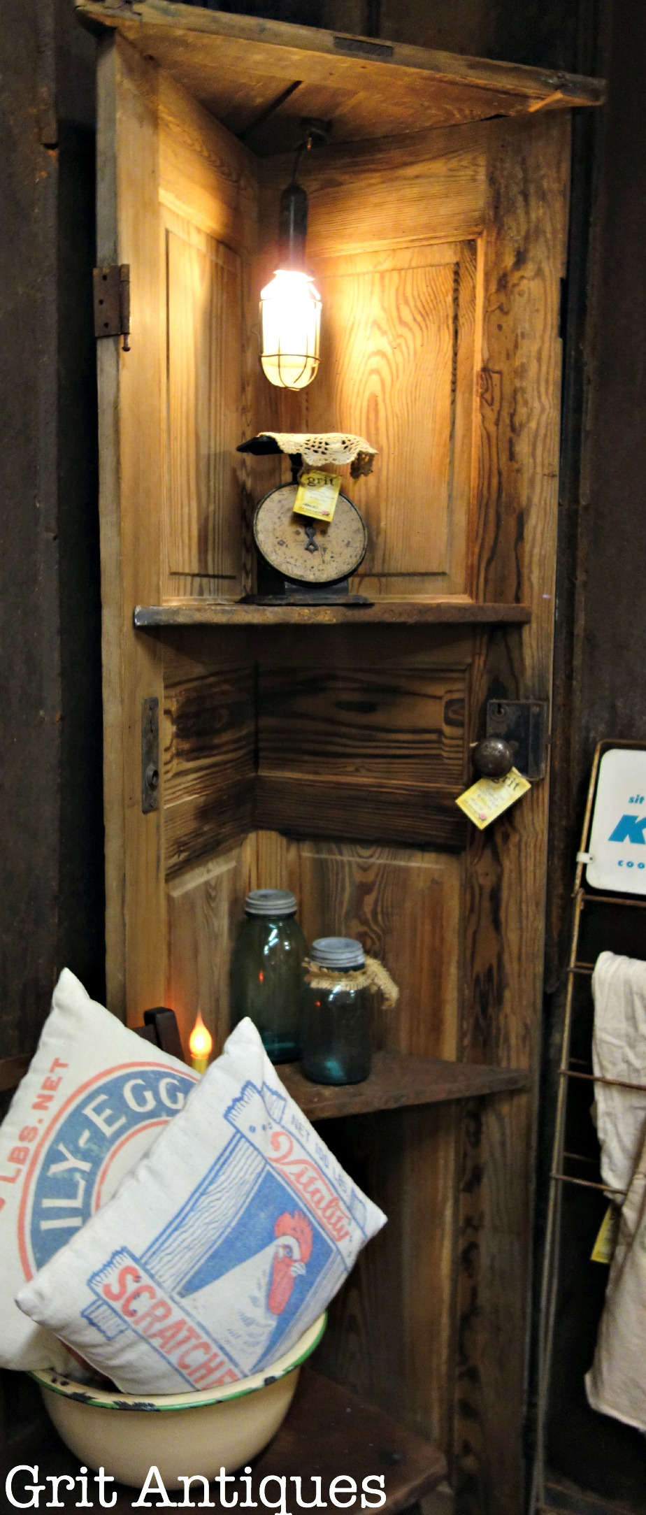 Corner Shelf Made With An Old Wooden Door Grit Antiques