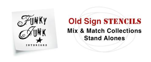 Funky Junk Interiors Old Sign Stencils Mix & Match - Garden Launch with Fusion Mineral Paints