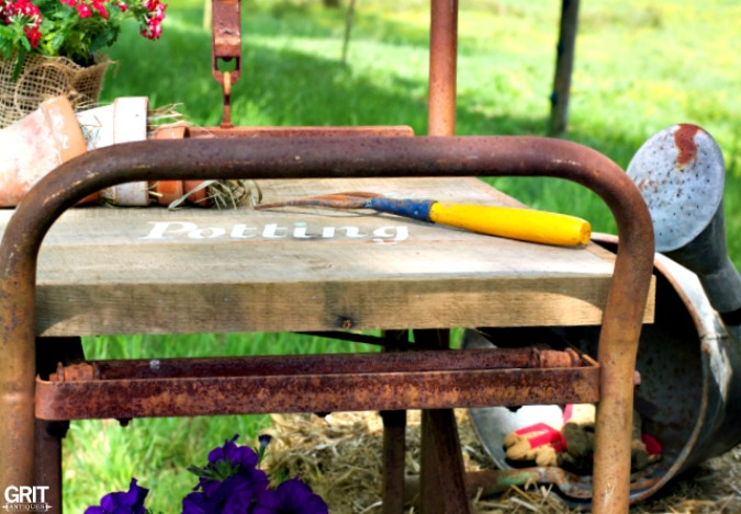 Old Scale Converted Into a Potting Bench