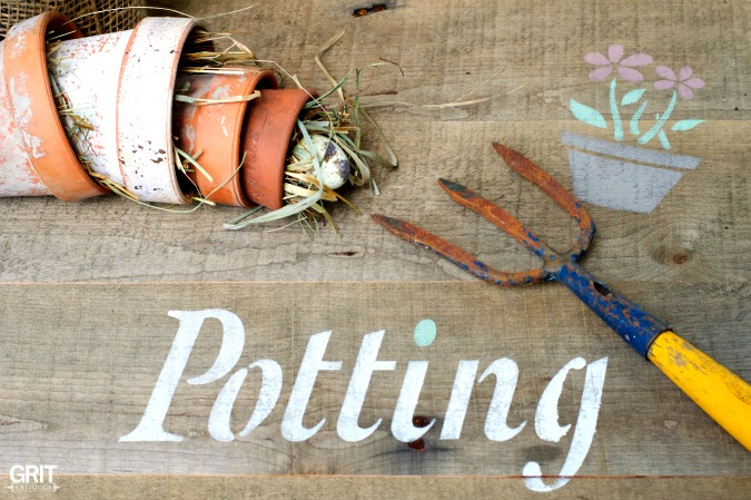 Potting Bench for spring flowers