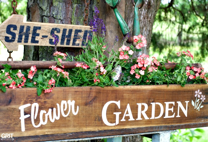 Garden Potting Bench with customized sized using Old Sign Stencils