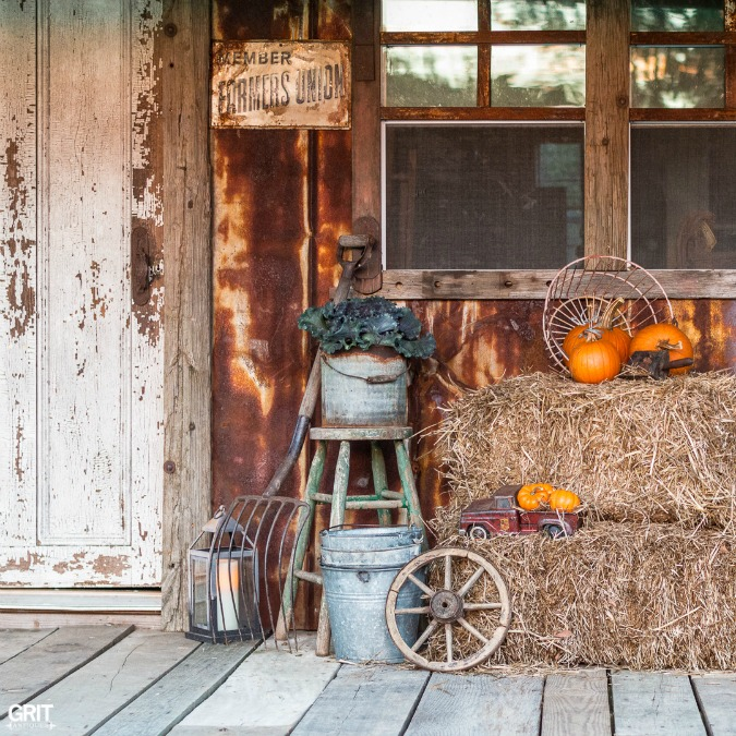 Fall Decorating on the barn porch.