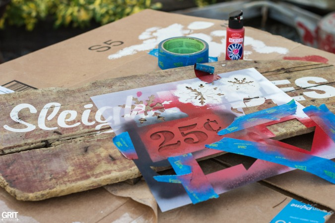making an old Christmas sign using Funky Junk's Old Sign Stencils. Sleigh Rides 25¢