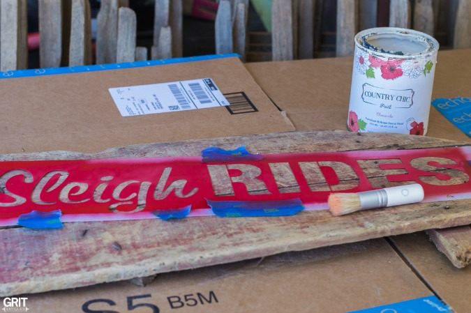 DIY| Making an old sign using a stencil from Funky Junk's Old Sign Stencils.