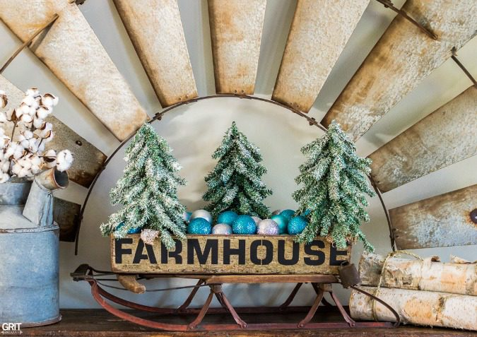 "Farmhouse stencil. Using Funky Junk's Old Sign Stencil I add ""Farmhouse"" to an old wooden antique tote. With Christmas approaching I added a few bells and trees."