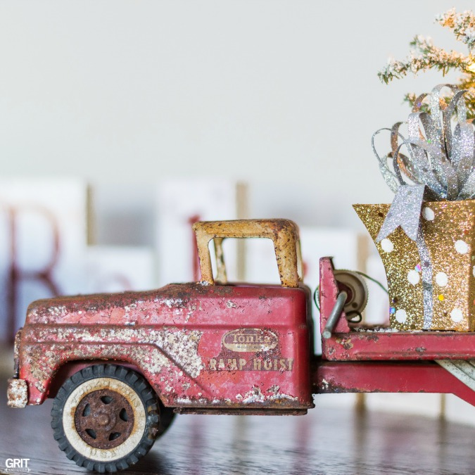 Vintage Christmas. Antique truck loaded with presents.