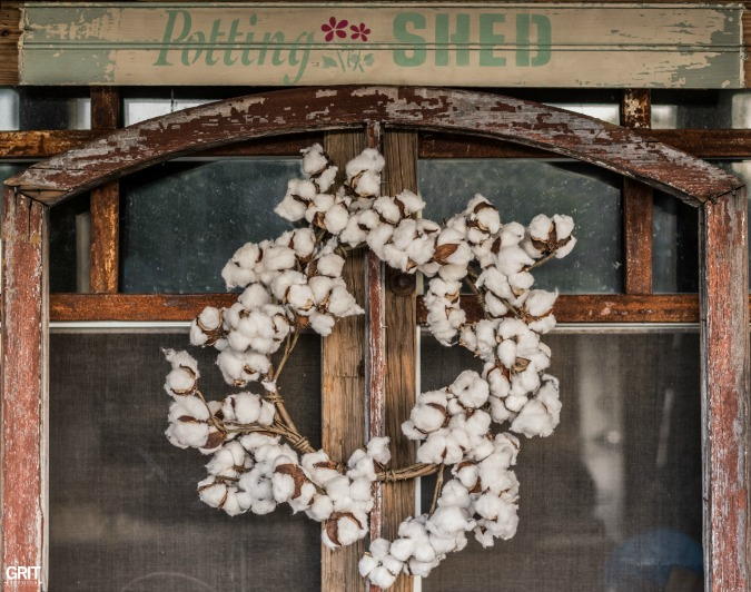 Antique Wooden Window with Cotton Wreath