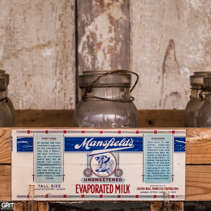 Antique seed trays and vintage dairy labels.