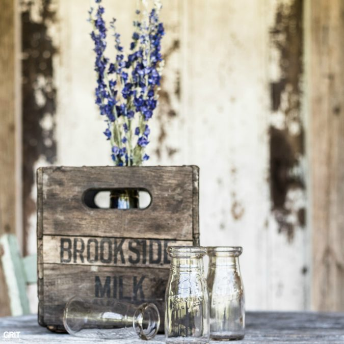 Flea Market Finds. Old milk crate and bottles make for a fun styled shot.