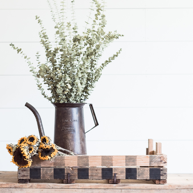 Stenciled Tulp Crate being Styled for Fall
