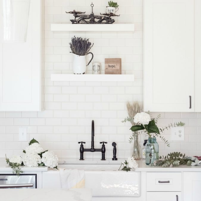 DIY Farmhouse Kitchen with Kohler sink, subway tile, and calacatta quartz countertops
