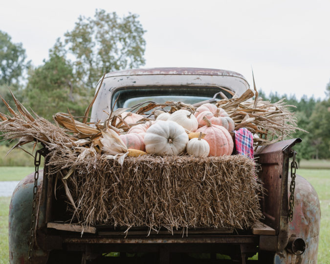 Old Truck for Fall. Pumpkins & hay bales