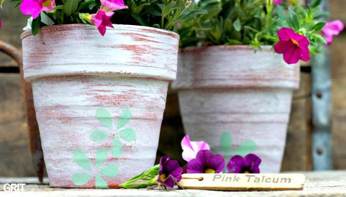 Funky Junk\\u0027s Old Sign Stencil Potting Shed Stencil Was Use For The Flower Petals. Fusion & Funky Flower Pots \u0026 Flower Pots Sc 1 St Amazon UK