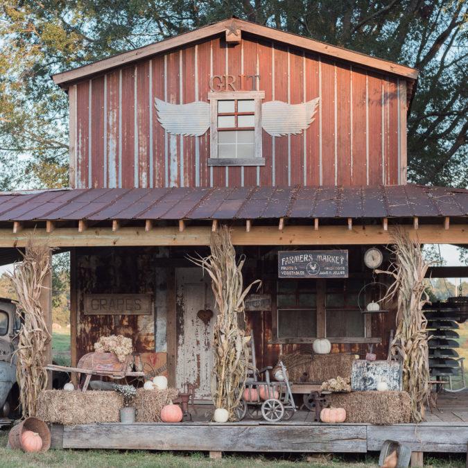 Barn Home Decor: Pumpkins, Hay Bales, Farm Truck, Old